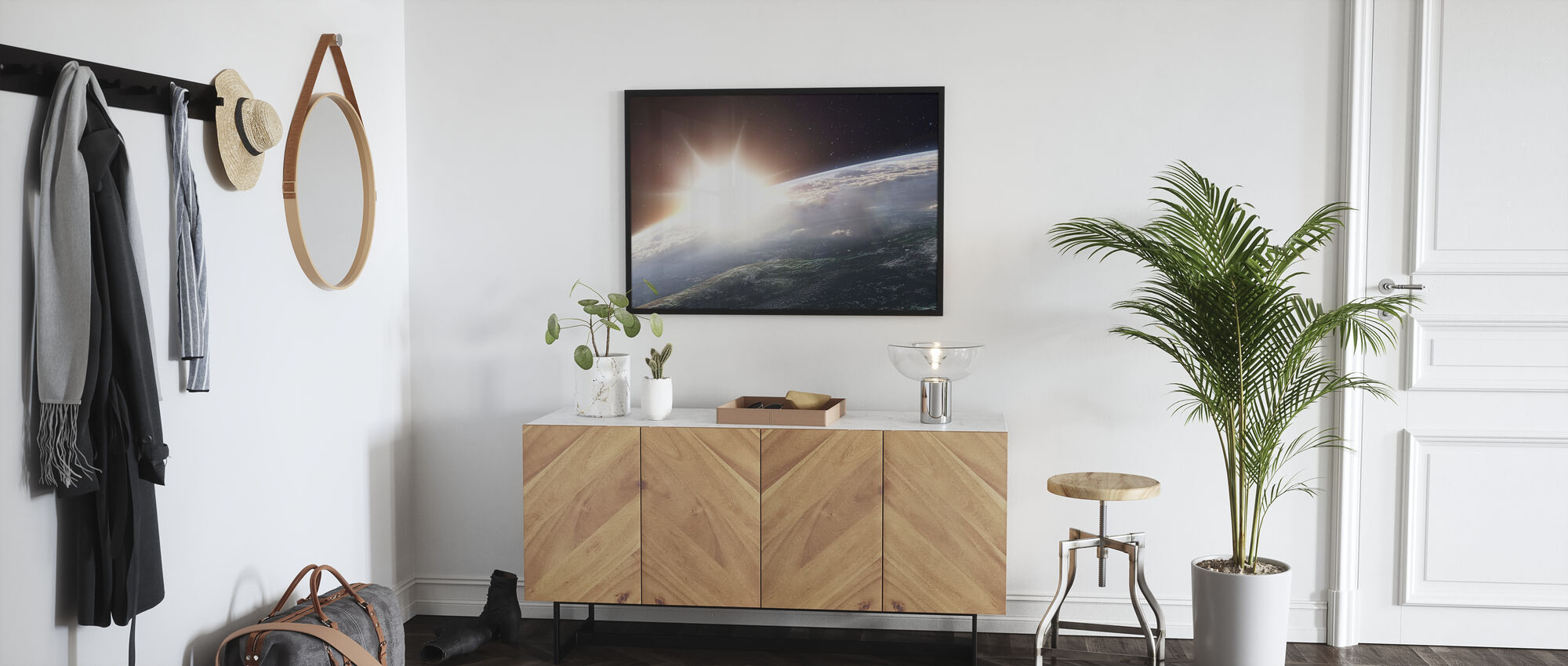 Sun over Earth - Framed print - Hallway
