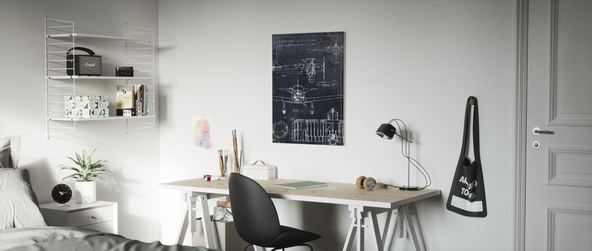 Airplane Blueprint - Black - Canvas print - Kids Room