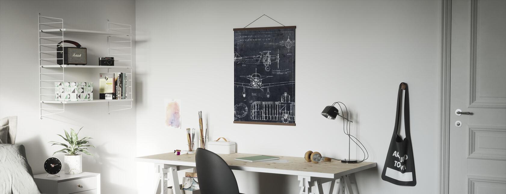 Airplane Blueprint - Black - Poster - Office