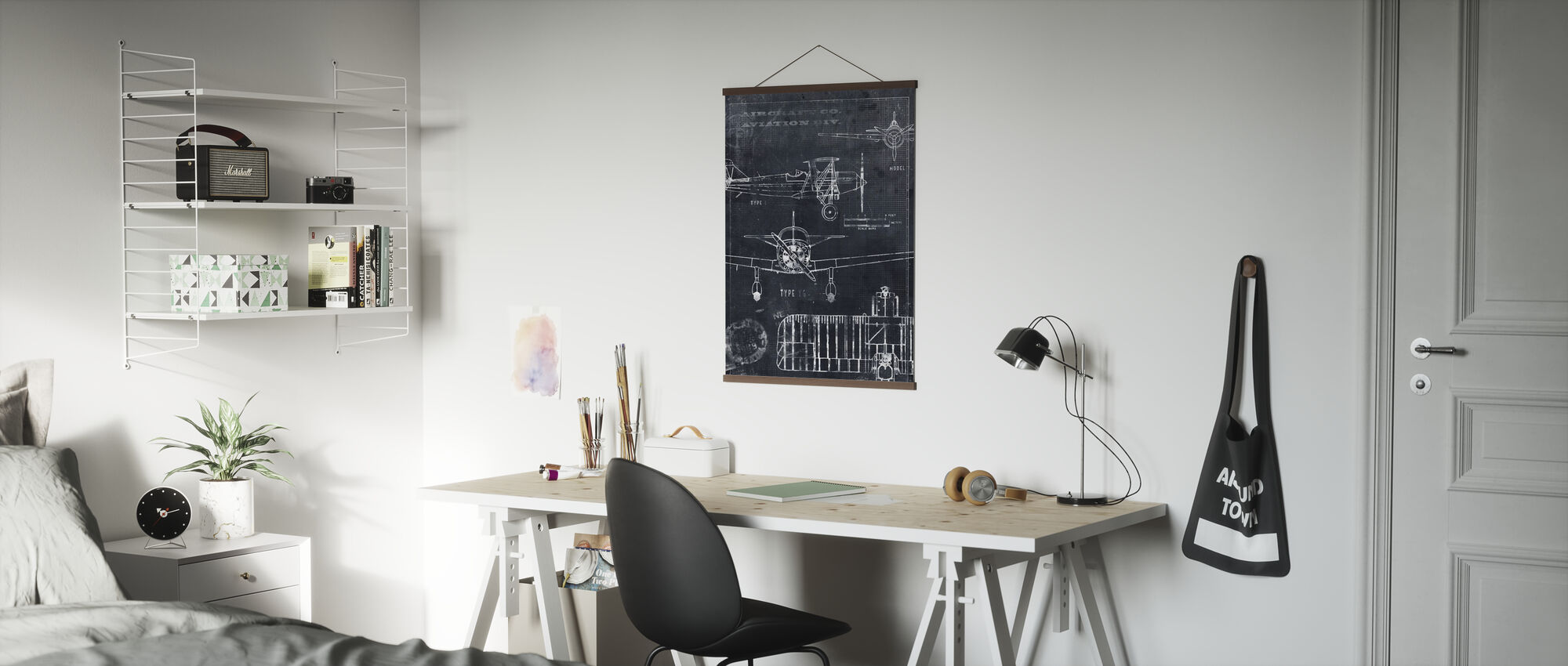 Airplane Blueprint - Black - Poster - Office