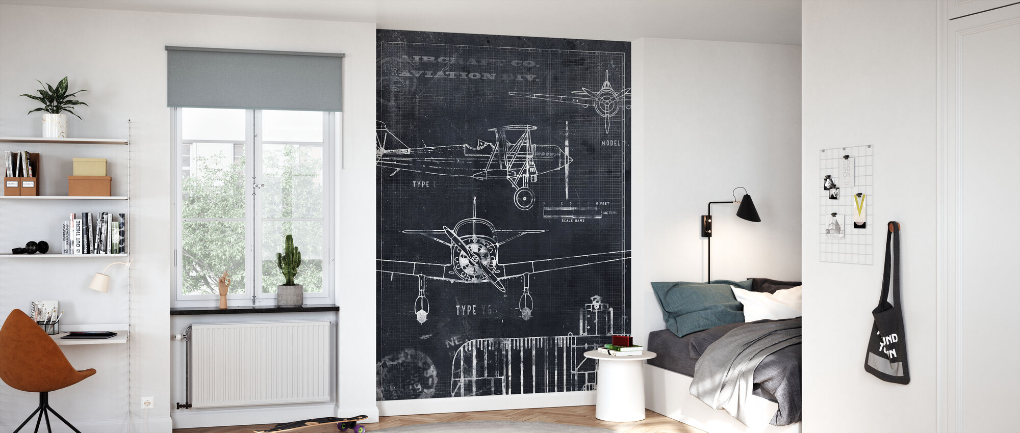 Airplane Blueprint - Black - Wallpaper - Kids Room