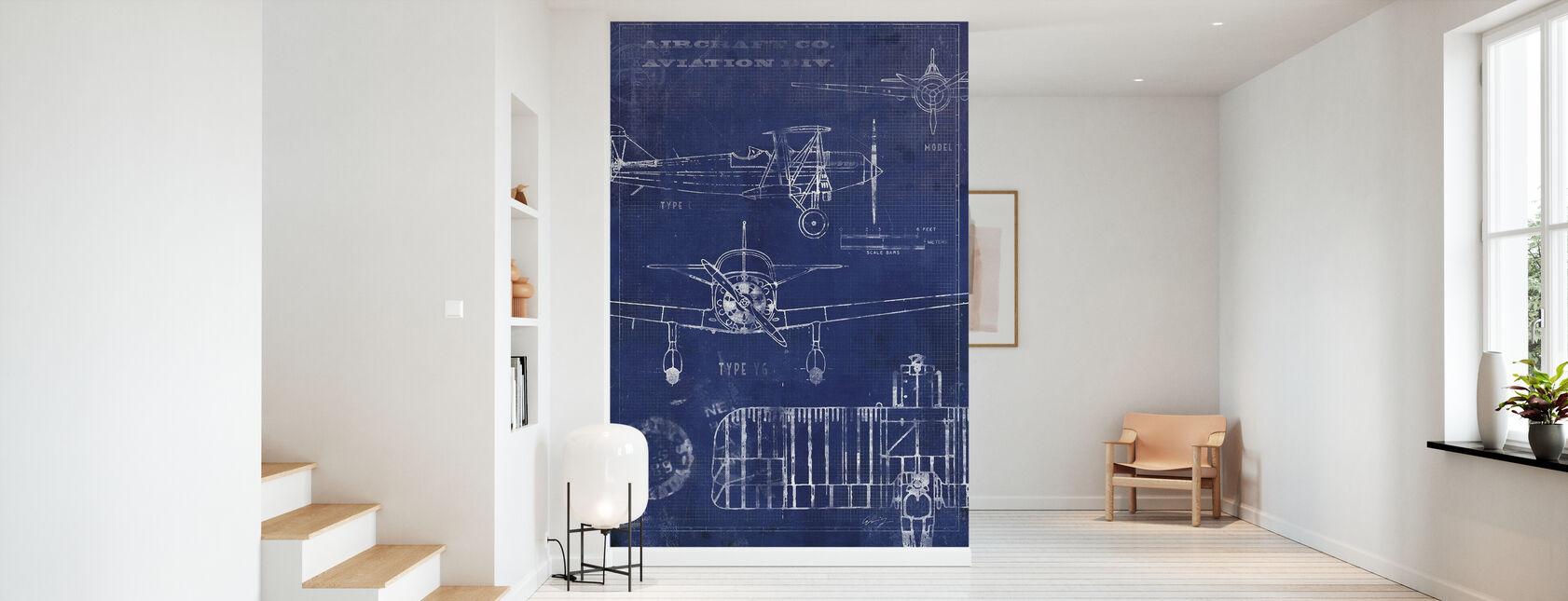 Airplane Blueprint - Wallpaper - Hallway