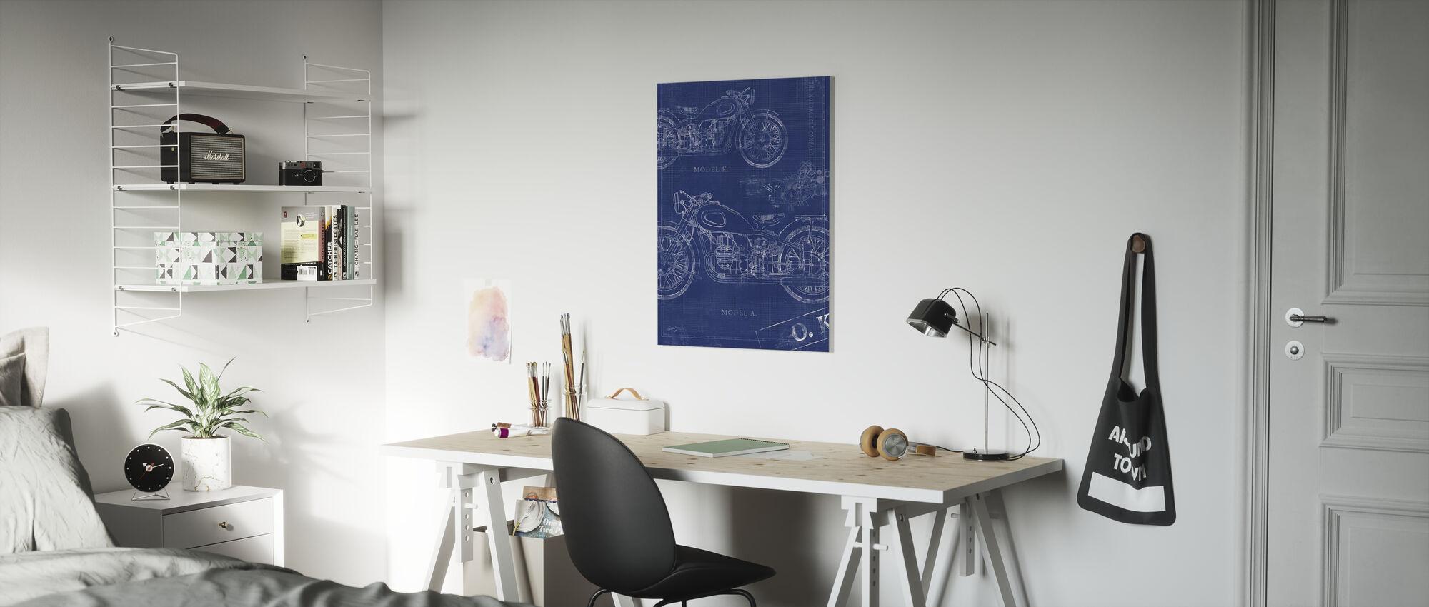 Motorcycle Blueprint - Canvas print - Kids Room
