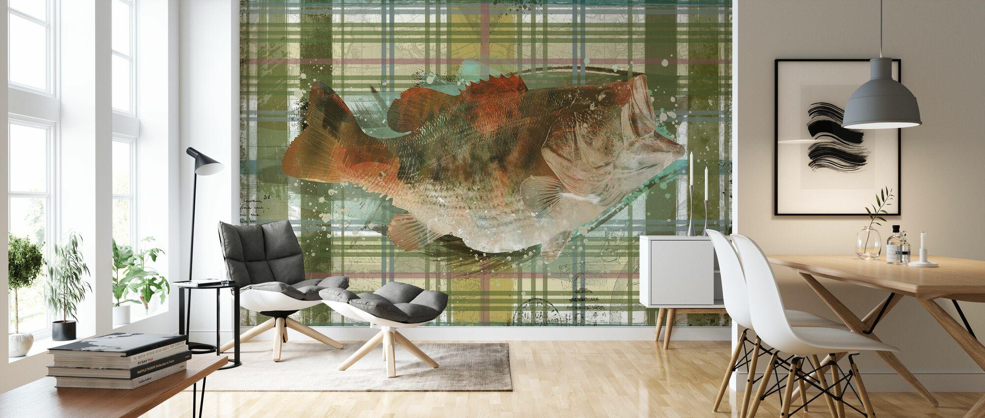 Lodge Bass - Tapete - Wohnzimmer