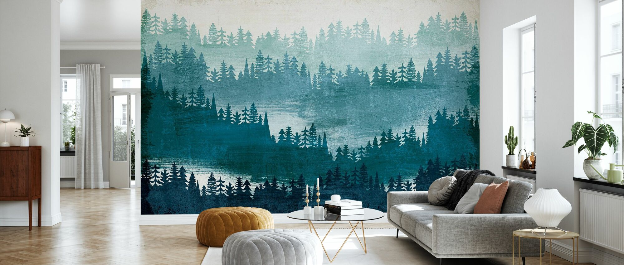 Mountainscape Blue - Wallpaper - Living Room