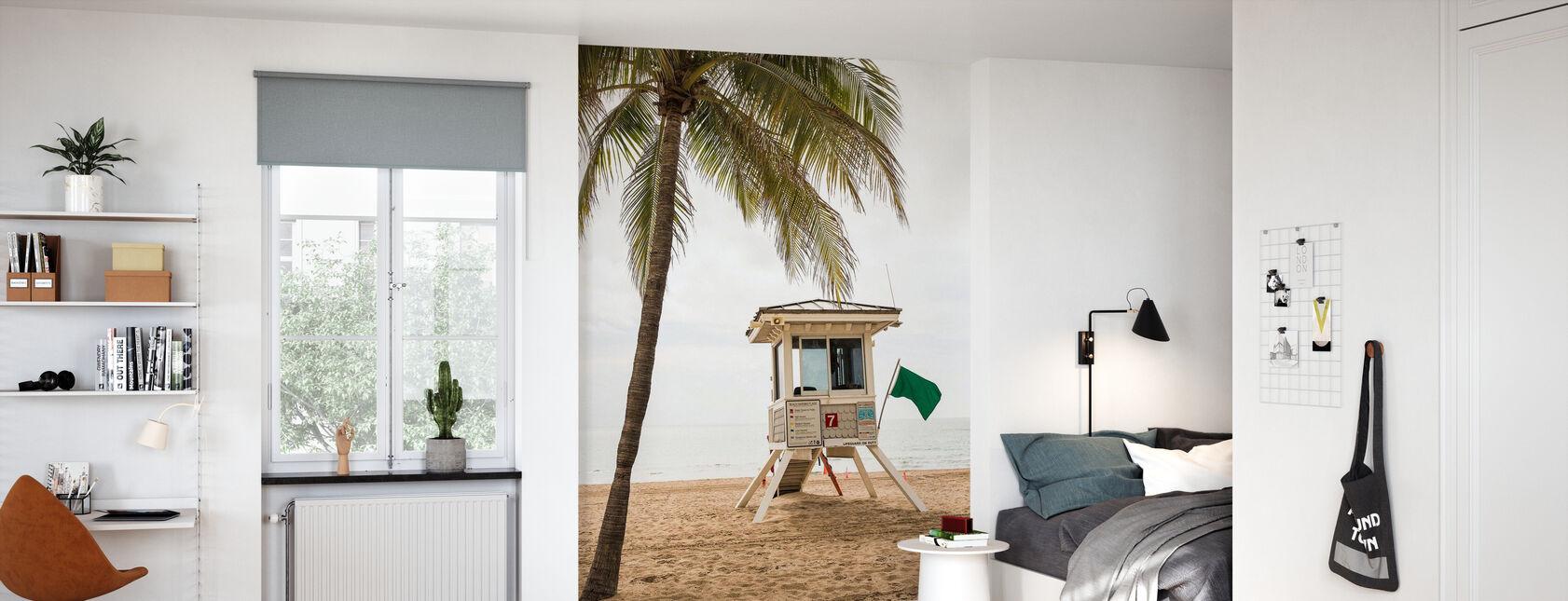 Groene Vlag op Florida Beach - Behang - Kinderkamer