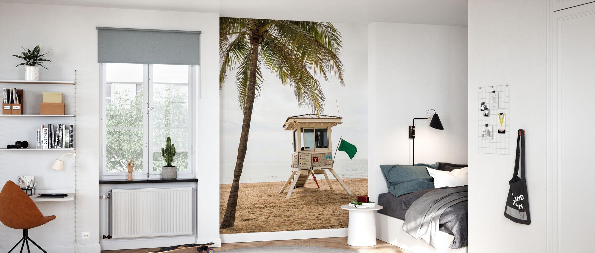 Grüne Flagge auf Florida Beach - Tapete - Kinderzimmer
