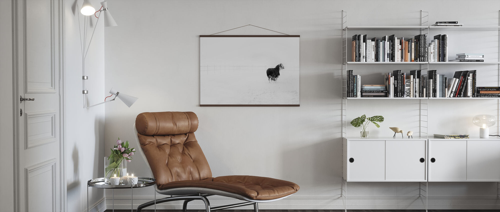 Horse in Snowstorm - Poster - Living Room