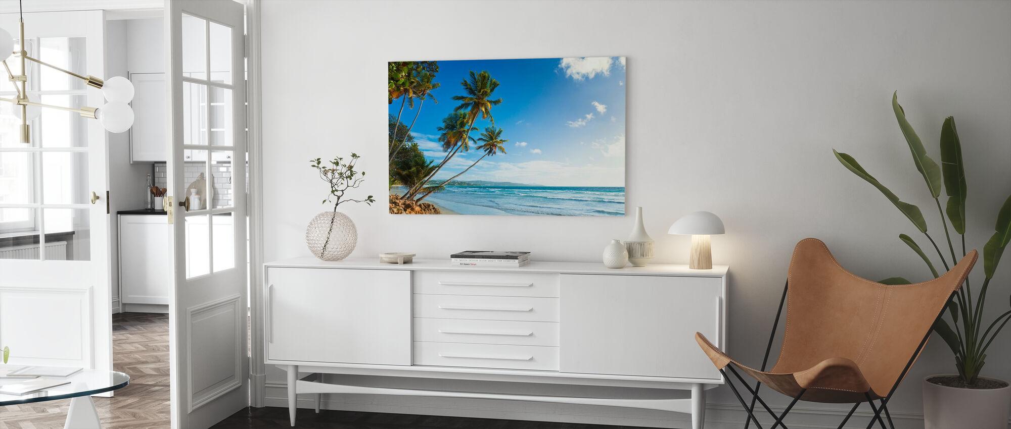 Palmer og strand, Trinidad og Tobago - Lerretsbilde - Stue