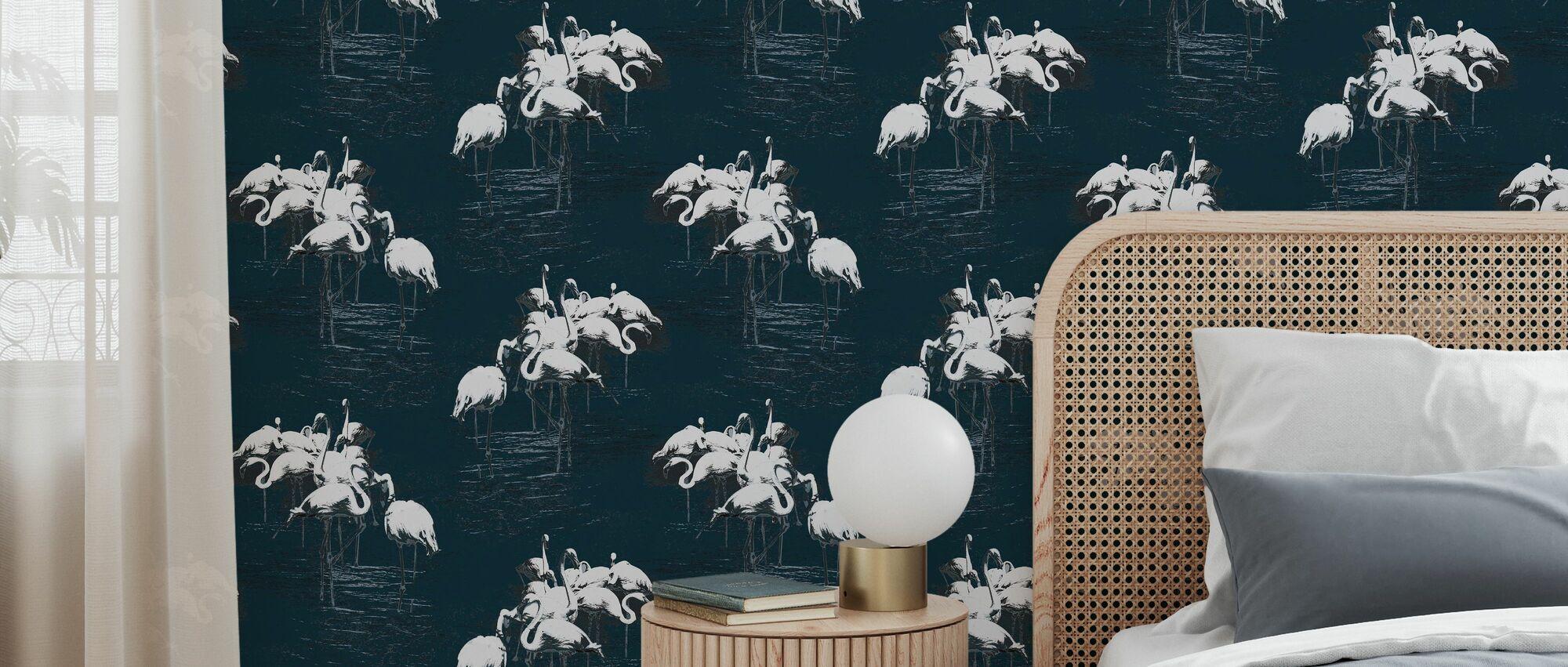 Flamant blanc - Papier peint - Chambre