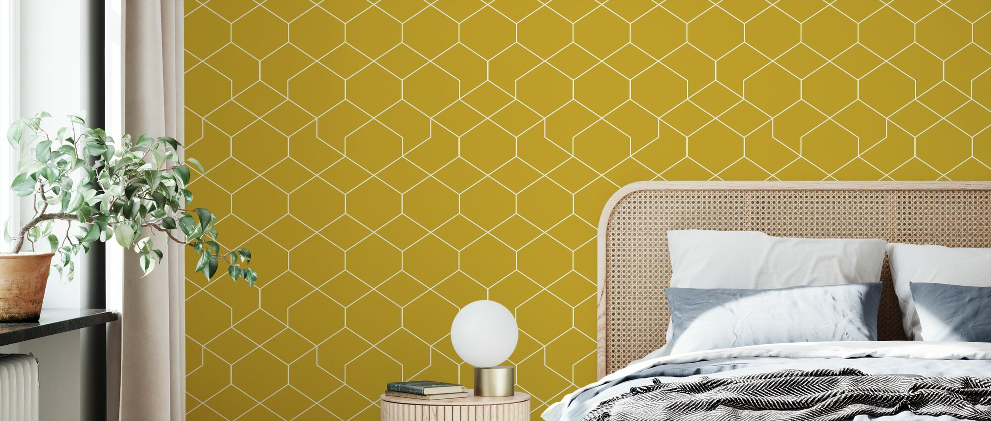 Honeycomb Yellow - Wallpaper - Bedroom