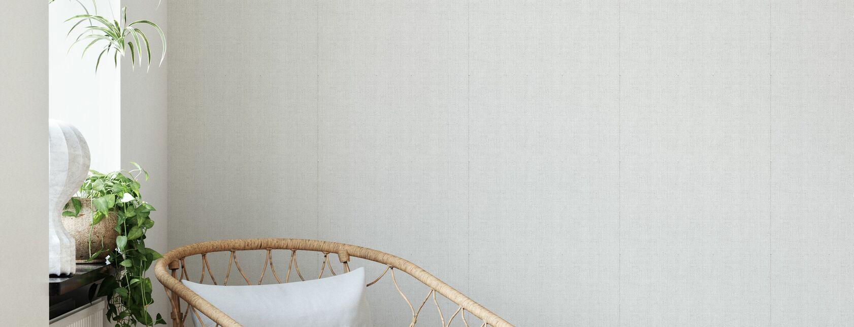 Leinen Weiß - Tapete - Wohnzimmer