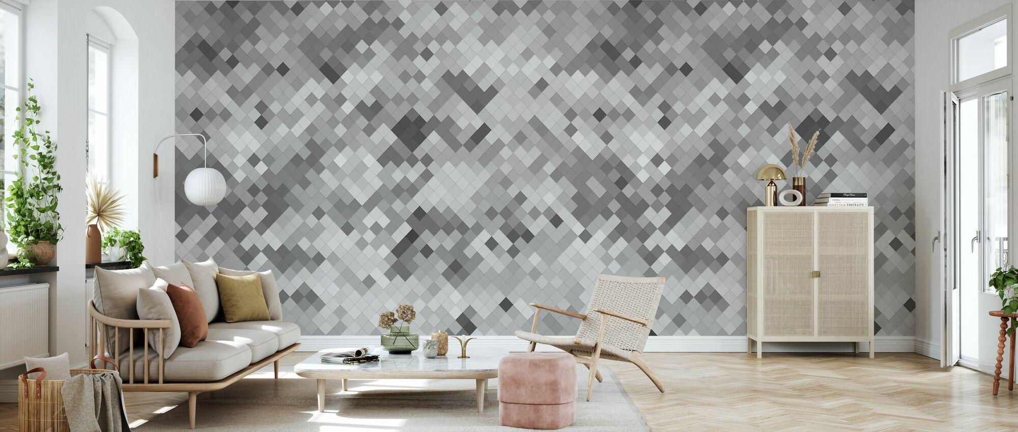 Fliese Grau - Tapete - Wohnzimmer