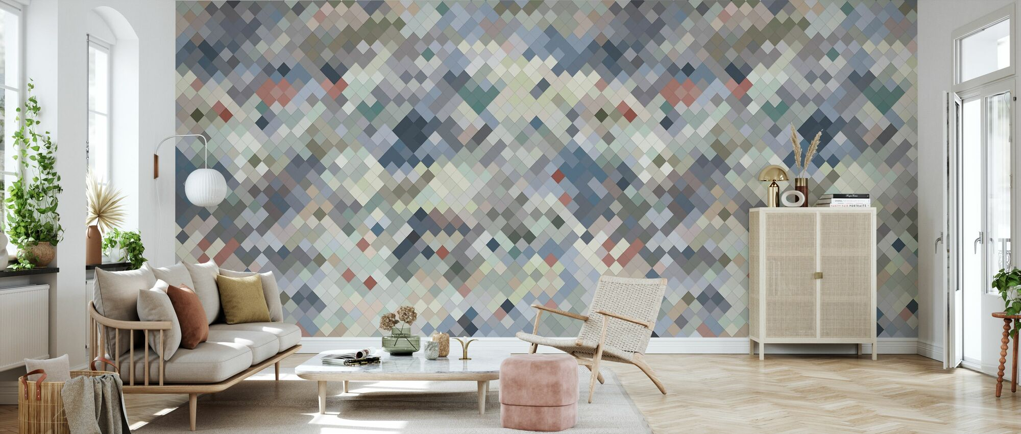 Tile Blue - Wallpaper - Living Room