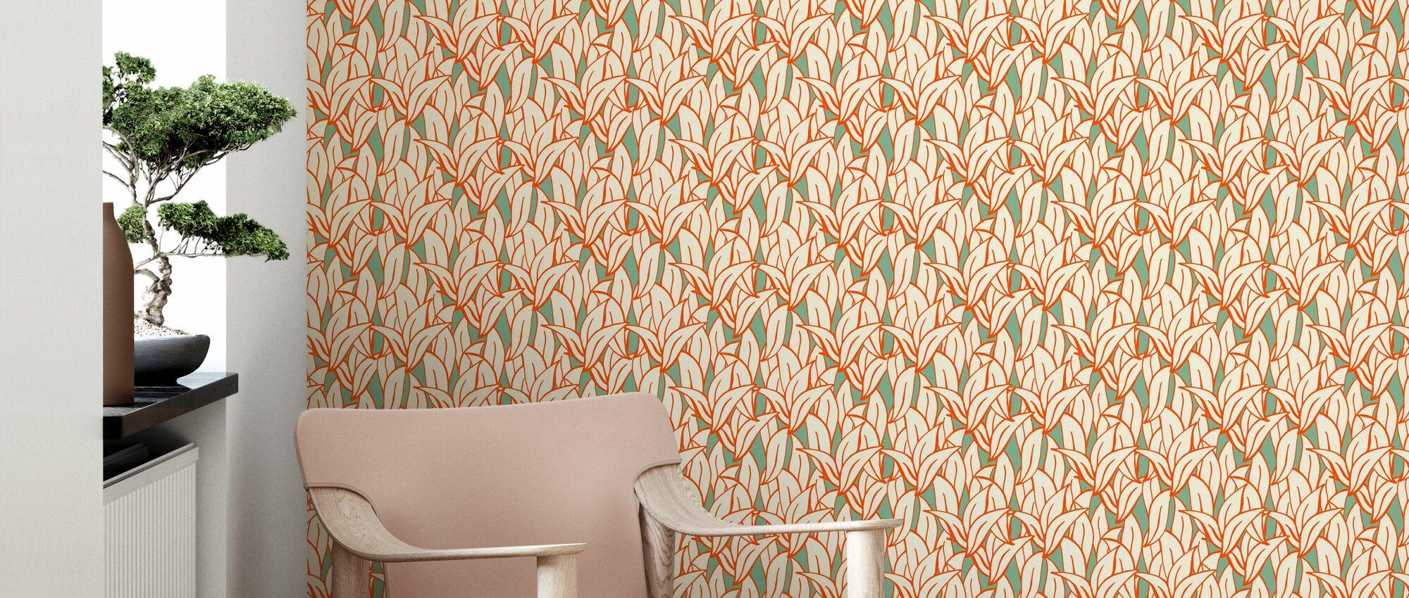 Mostly Leafs Orange - Wallpaper - Living Room