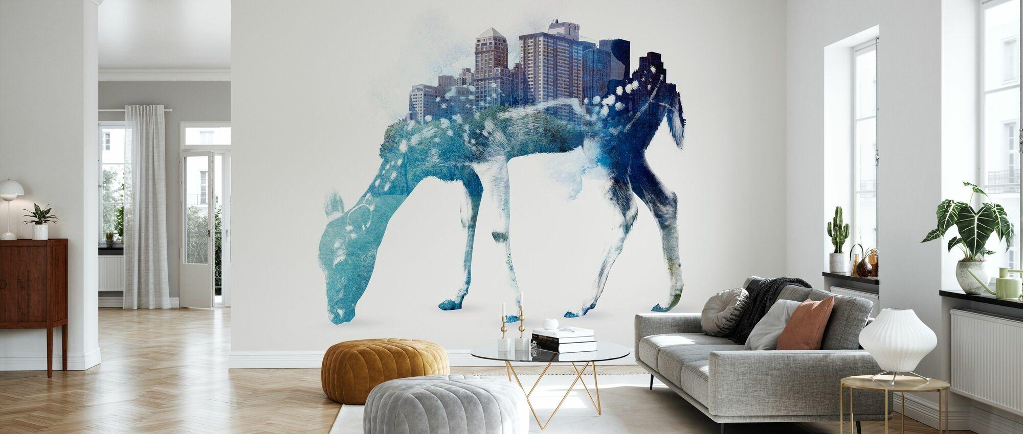 City Deer - Wallpaper - Living Room