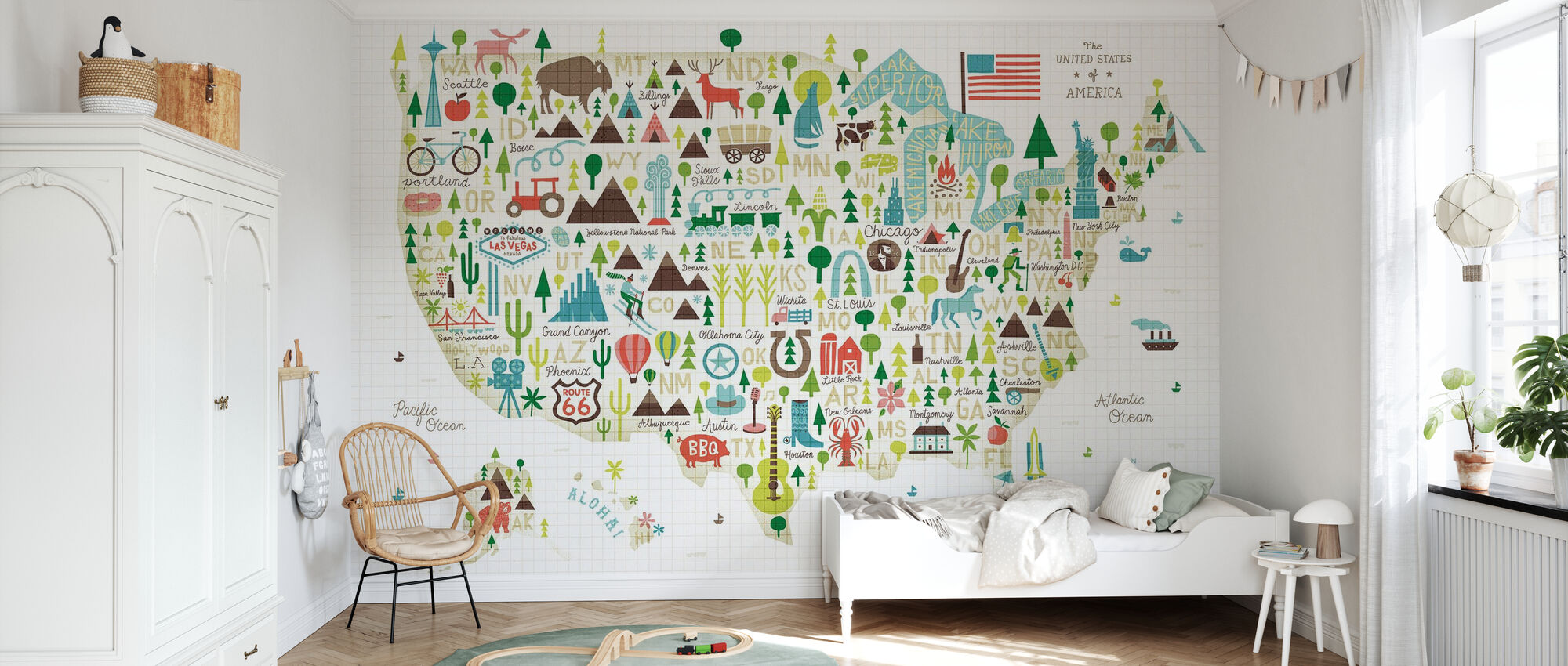 Illustrated USA - Wallpaper - Kids Room
