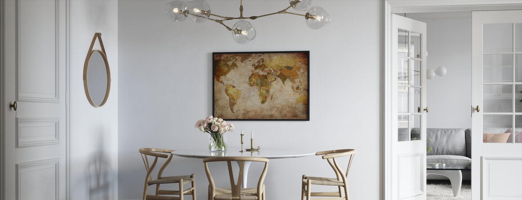 Gamle Vintage verdenskort - Indrammet billede - Køkken