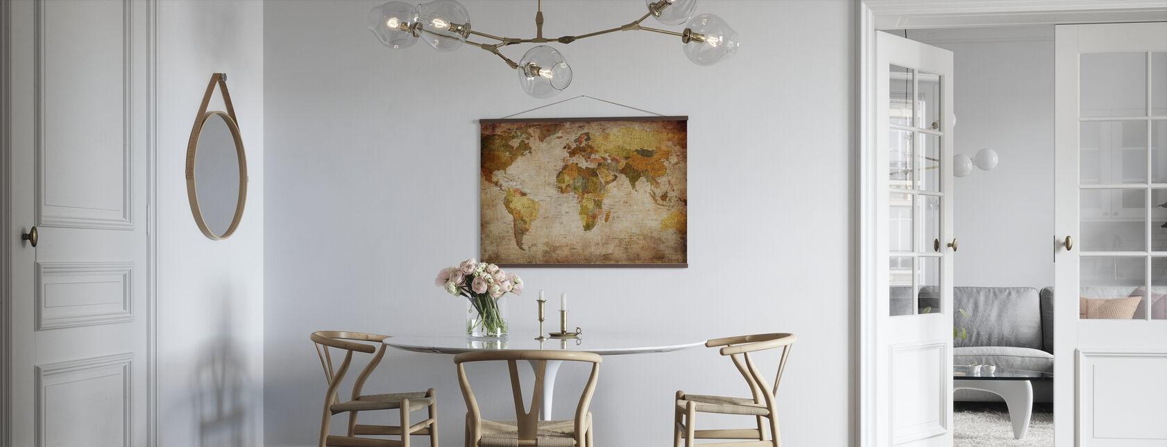 Gamle Vintage verdenskort - Plakat - Køkken