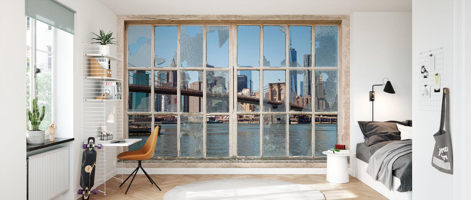 Brooklyn Bridge gjennom brukket vindu - Tapet - Barnerom