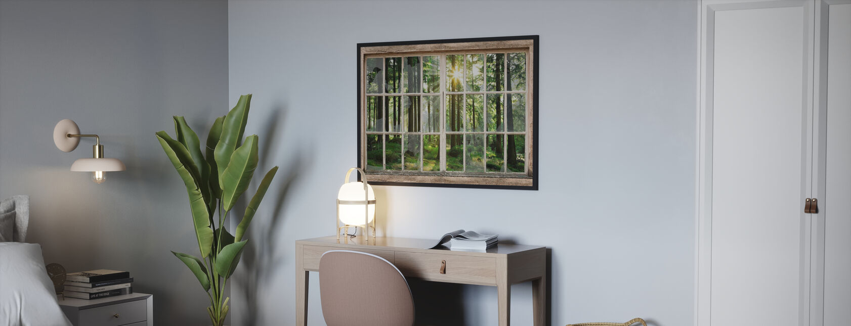 Sunset in Forest Through Broken Window - Poster - Bedroom