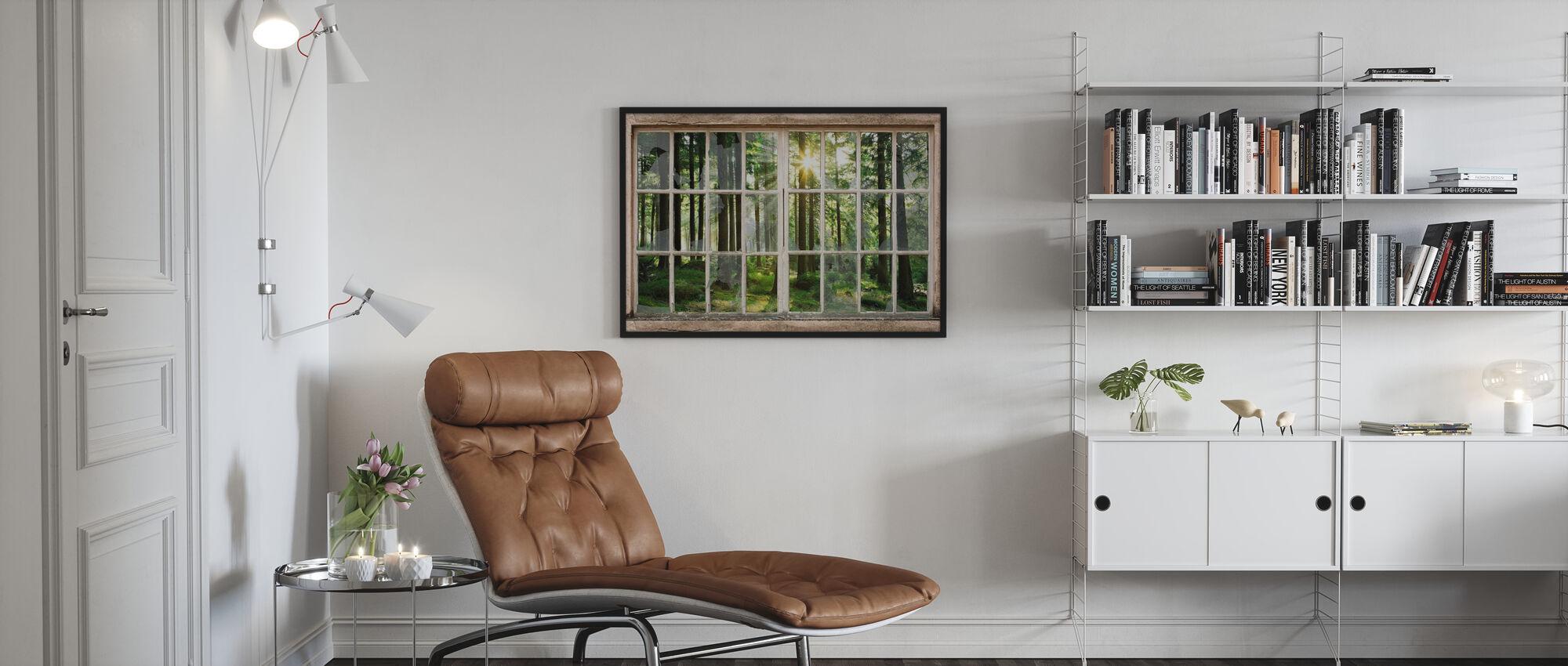 Zonsondergang in bos door gebroken venster - Ingelijste print - Woonkamer