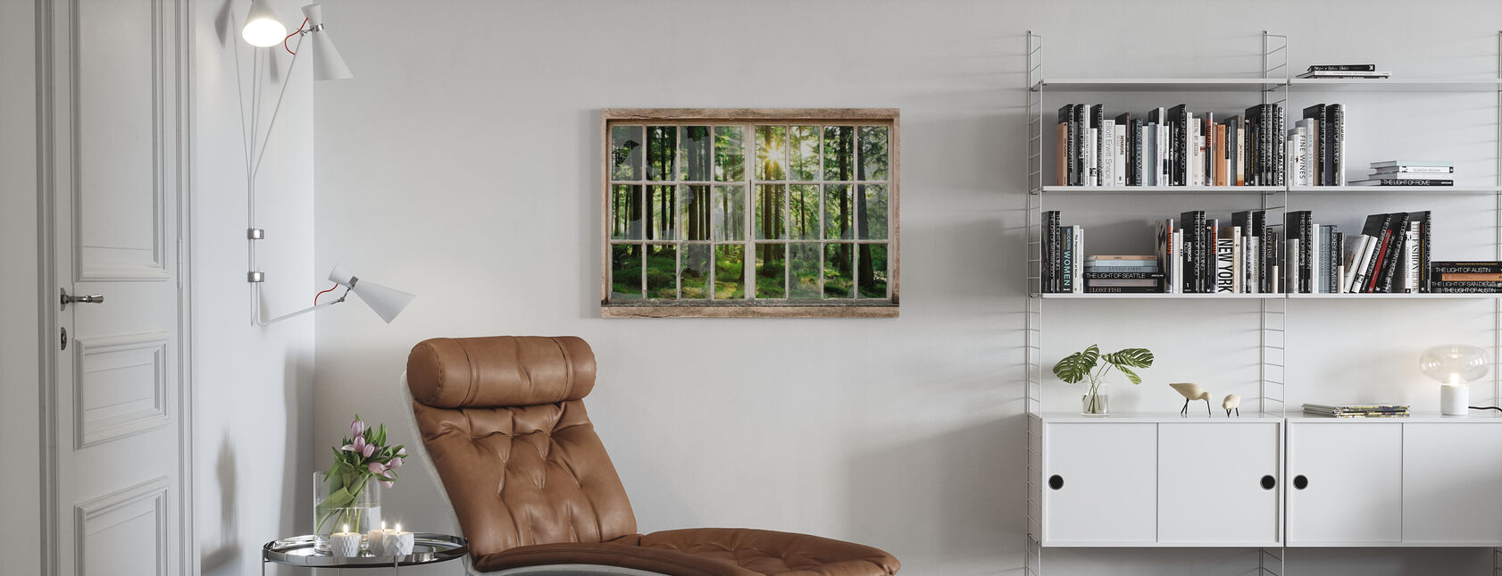 Sunset in Forest Through Broken Window - Canvas print - Living Room