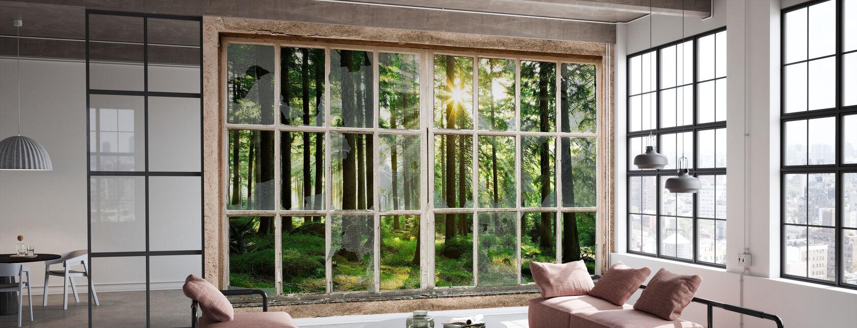 Sunset in Forest Through Broken Window - Wallpaper - Office