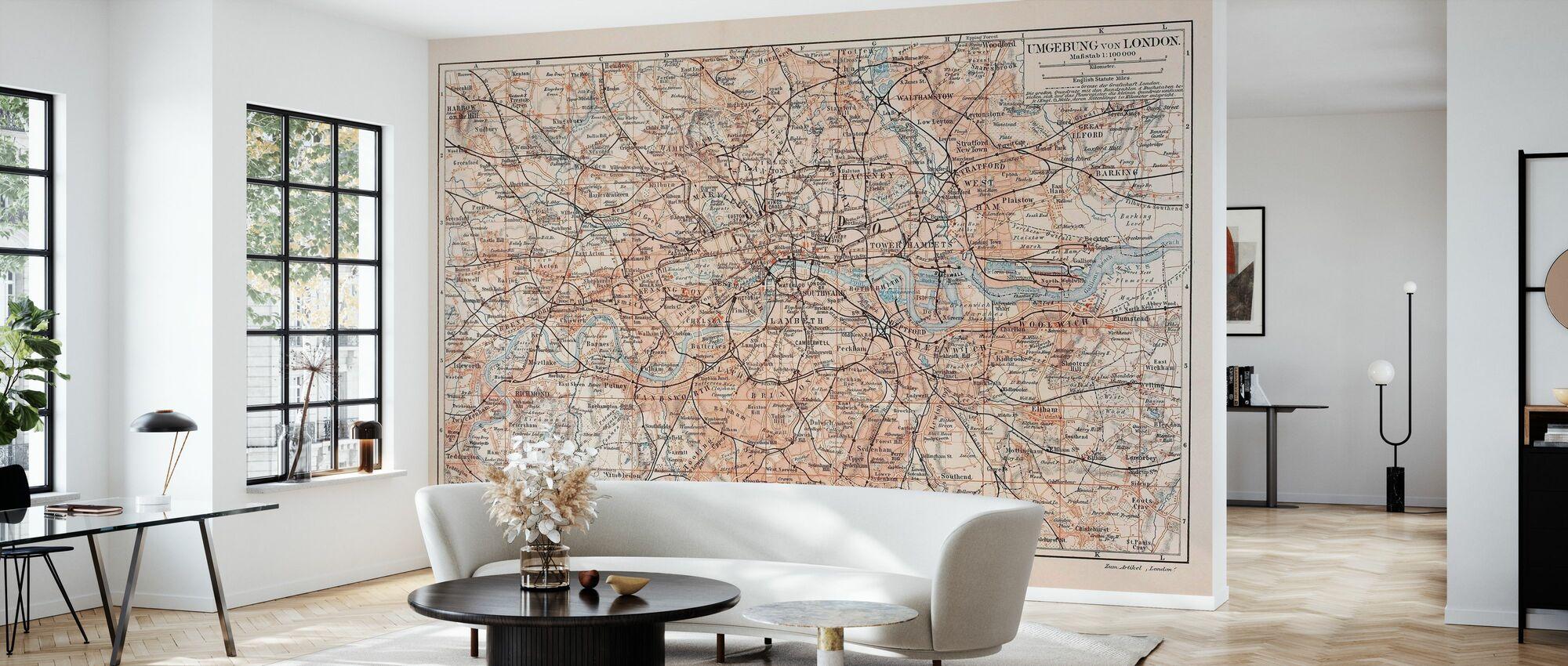 London Kort - Tapet - Stue