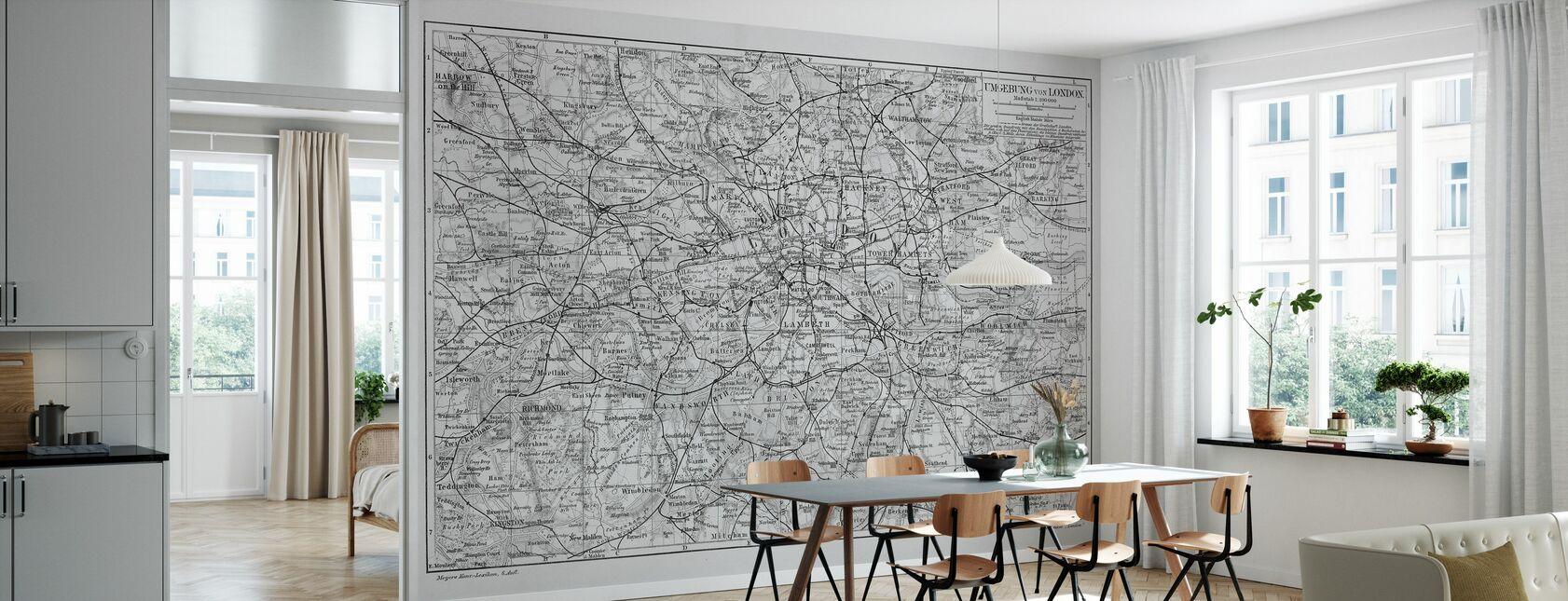 London Map Gray - Wallpaper - Kitchen