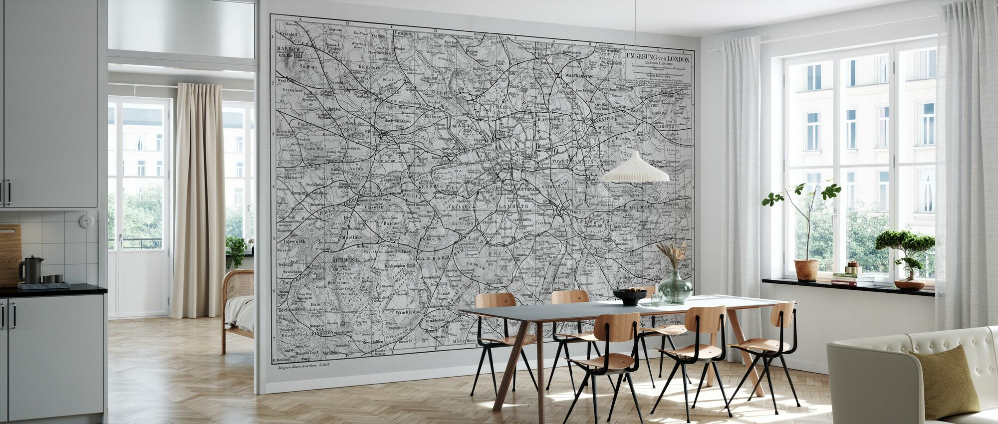 London Map Gray - Wallpaper - Kitchen