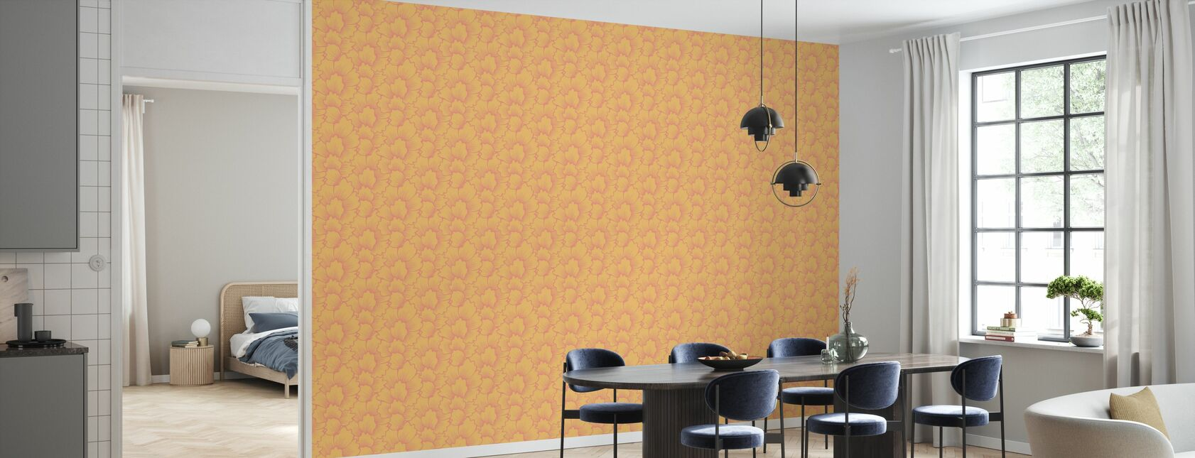 Mostly Coral Pink on Yellow - Wallpaper - Kitchen