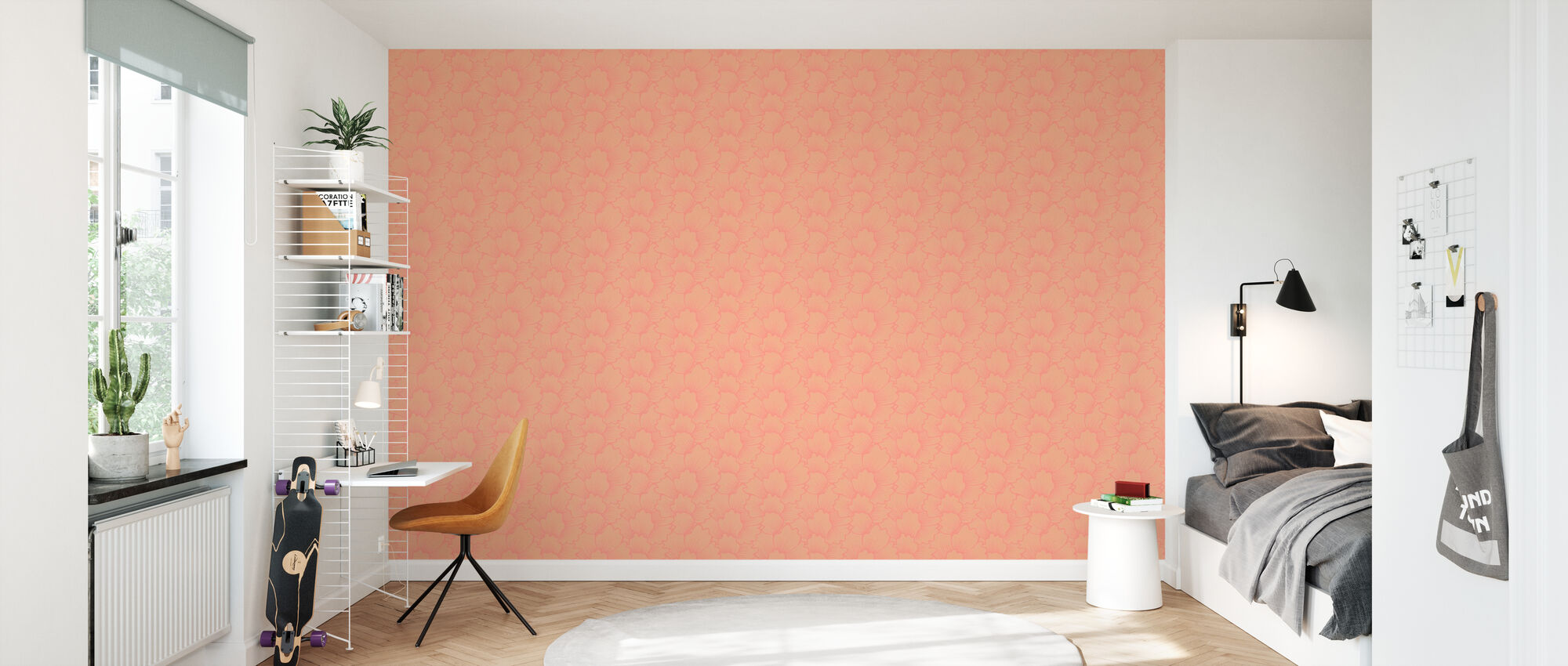 Mostly Coral Pink on Pink - Wallpaper - Kids Room