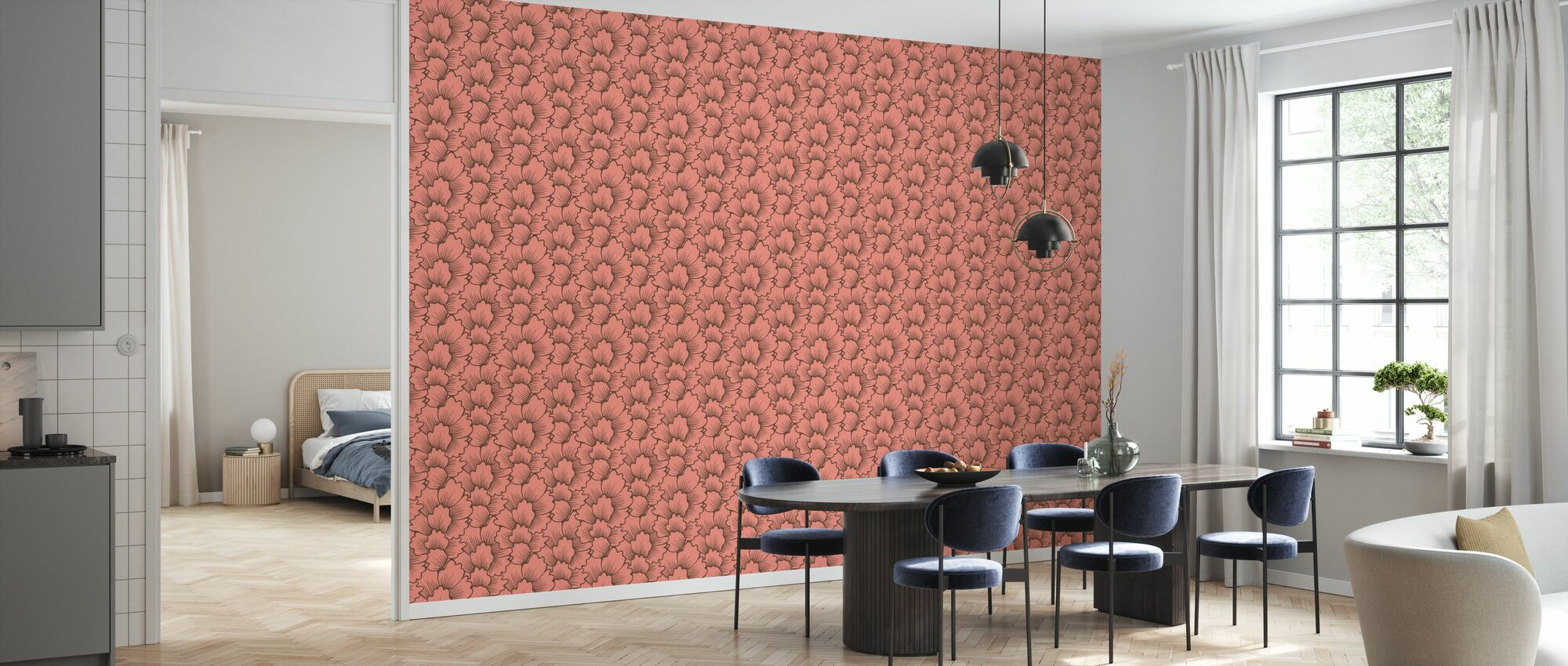 Mostly Coral Brown on Pink - Wallpaper - Kitchen