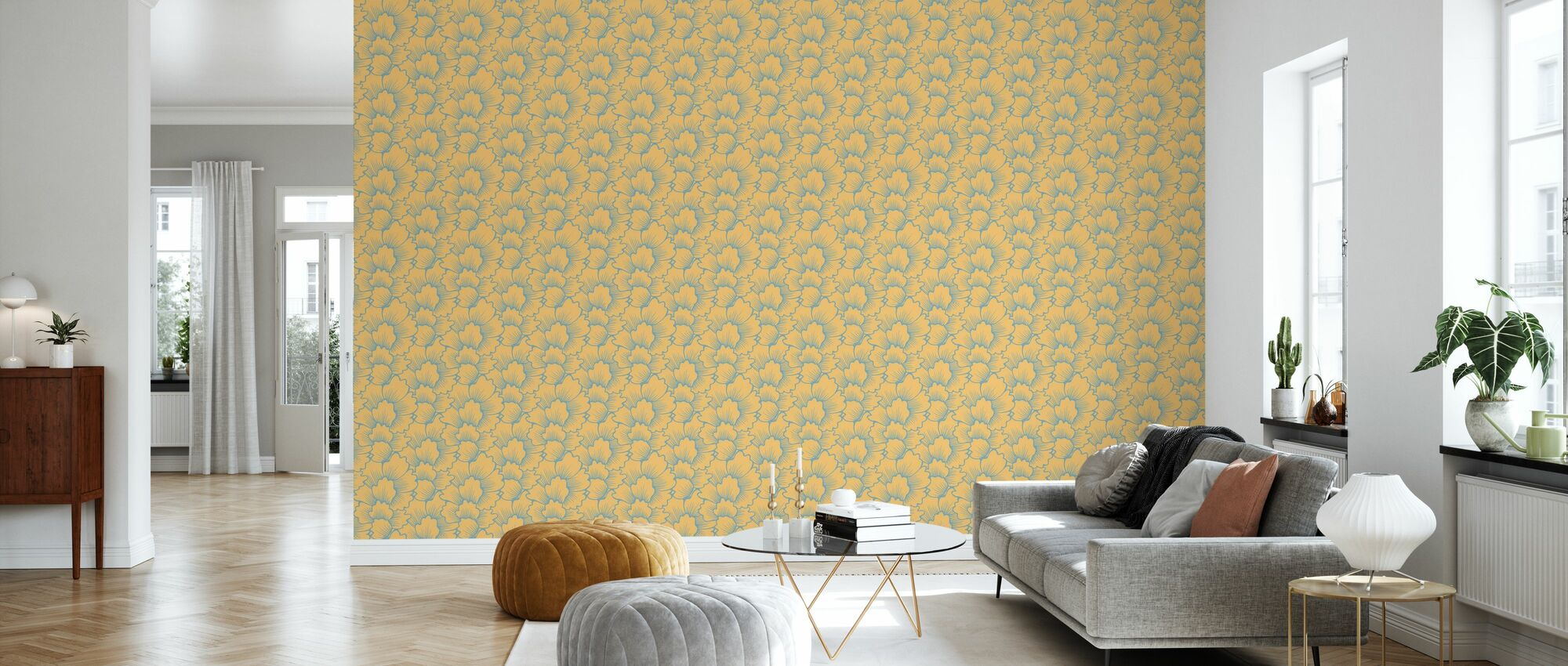 Mostly Coral Blue on Yellow - Wallpaper - Living Room