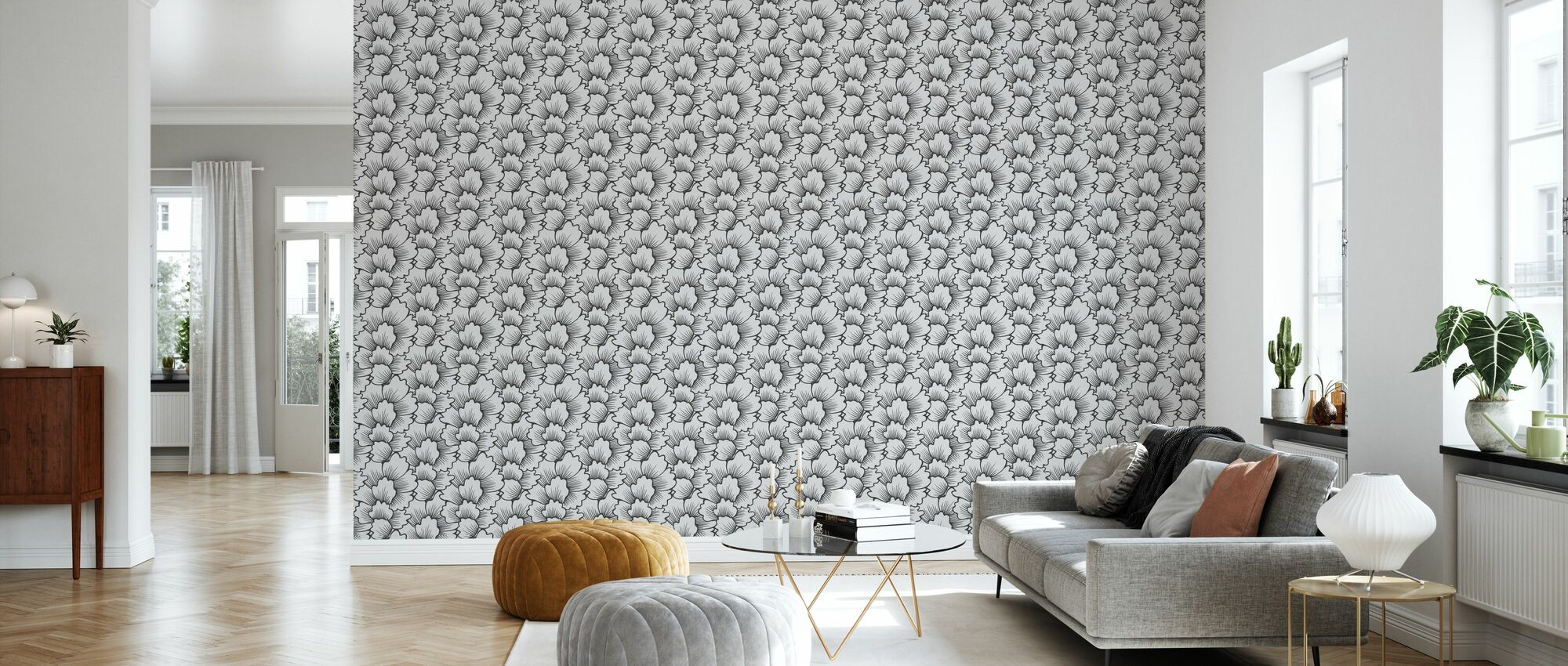 Mostly Coral Black on Grey - Wallpaper - Living Room