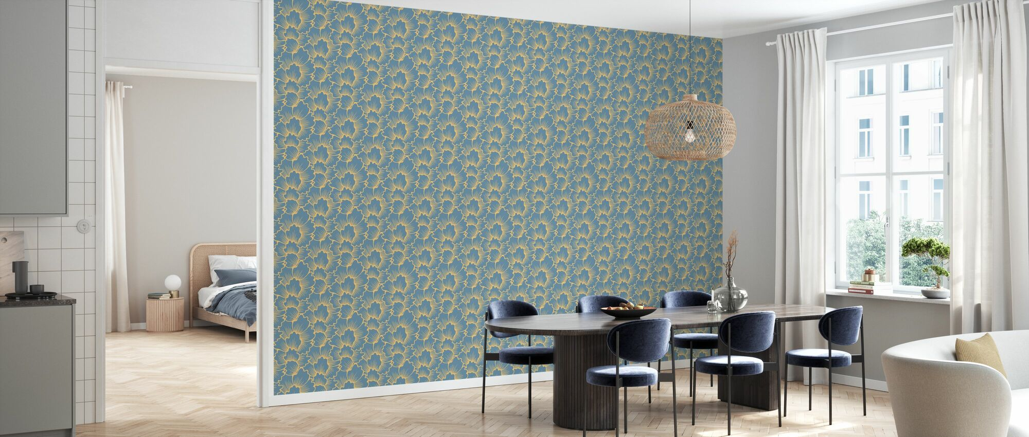 Mostly Coral Yellow on Blue - Wallpaper - Kitchen