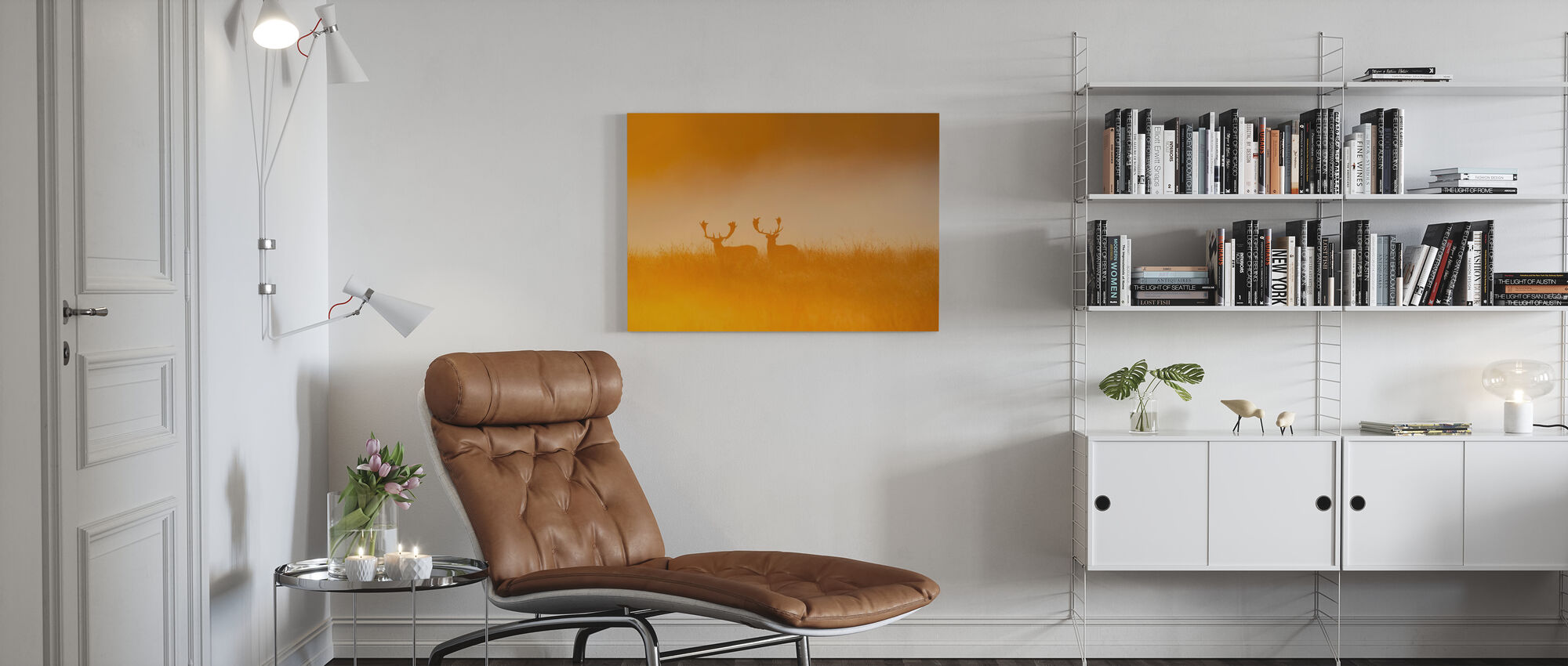 Deer in Yellow Light - Canvas print - Living Room