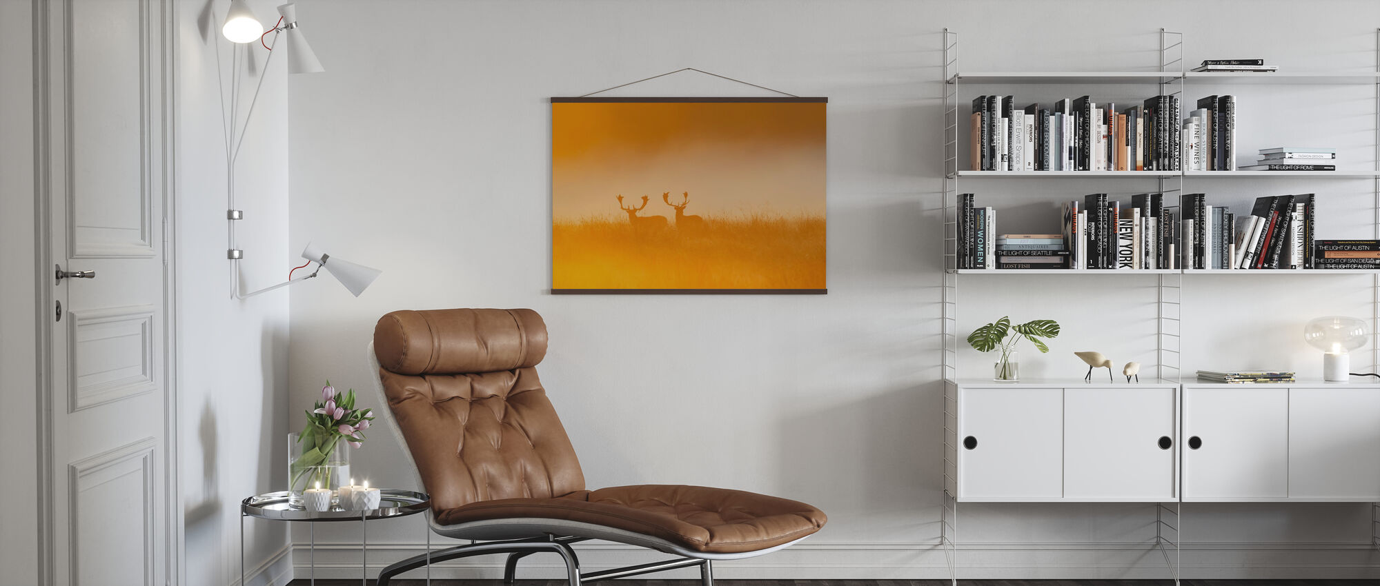 Deer in Yellow Light - Poster - Living Room