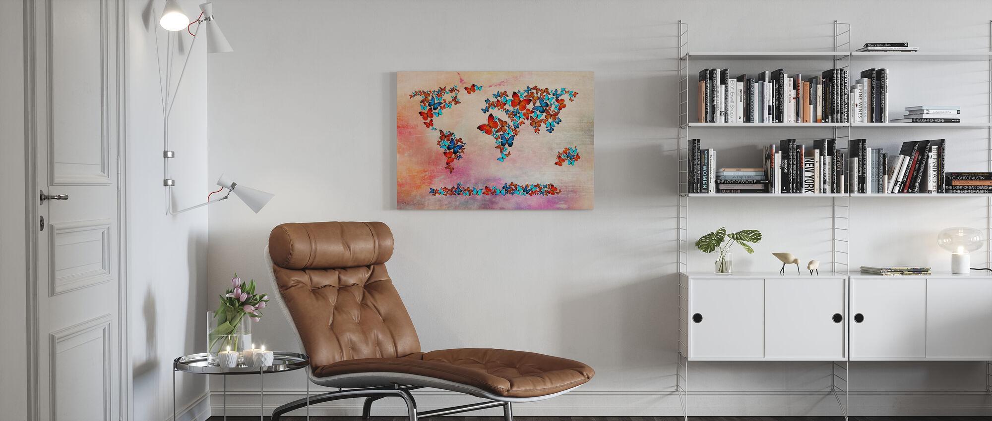 Vlinders vormen Wereld Kaart - Canvas print - Woonkamer
