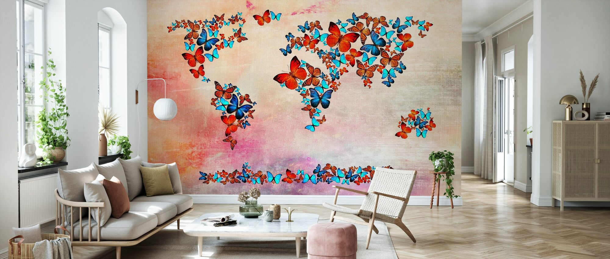 Butterflies Forming World Map - Wallpaper - Living Room