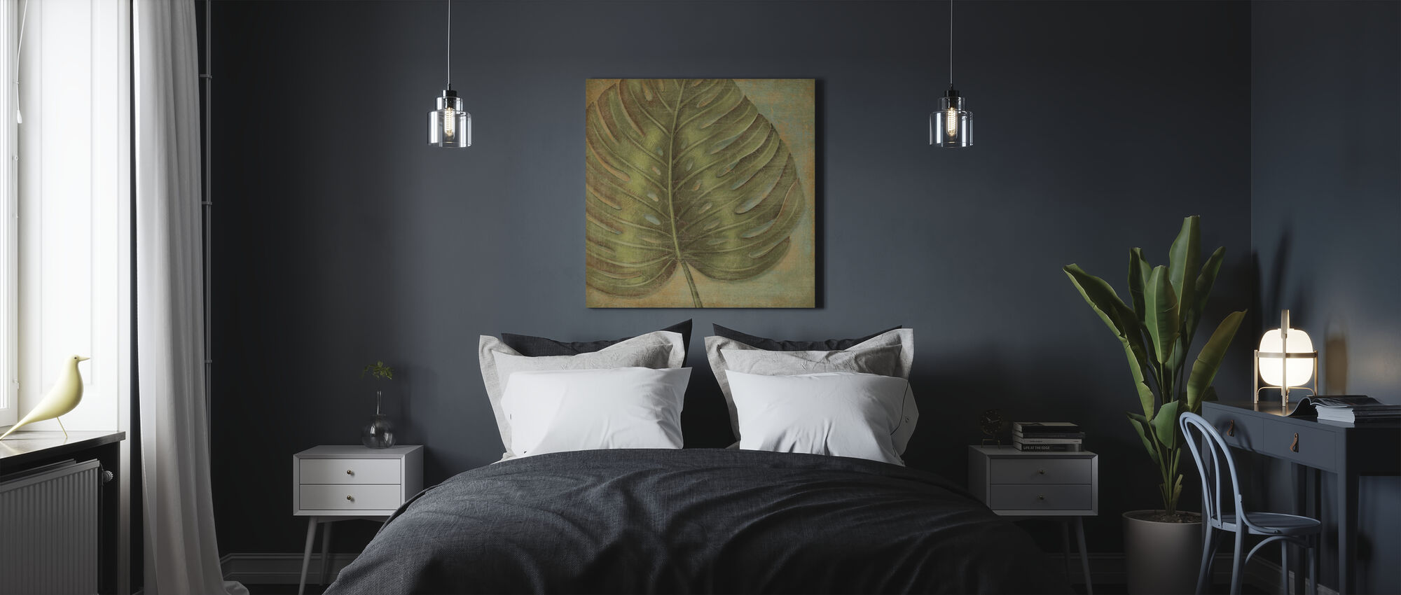 Groene Tropic Monstera - Canvas print - Slaapkamer