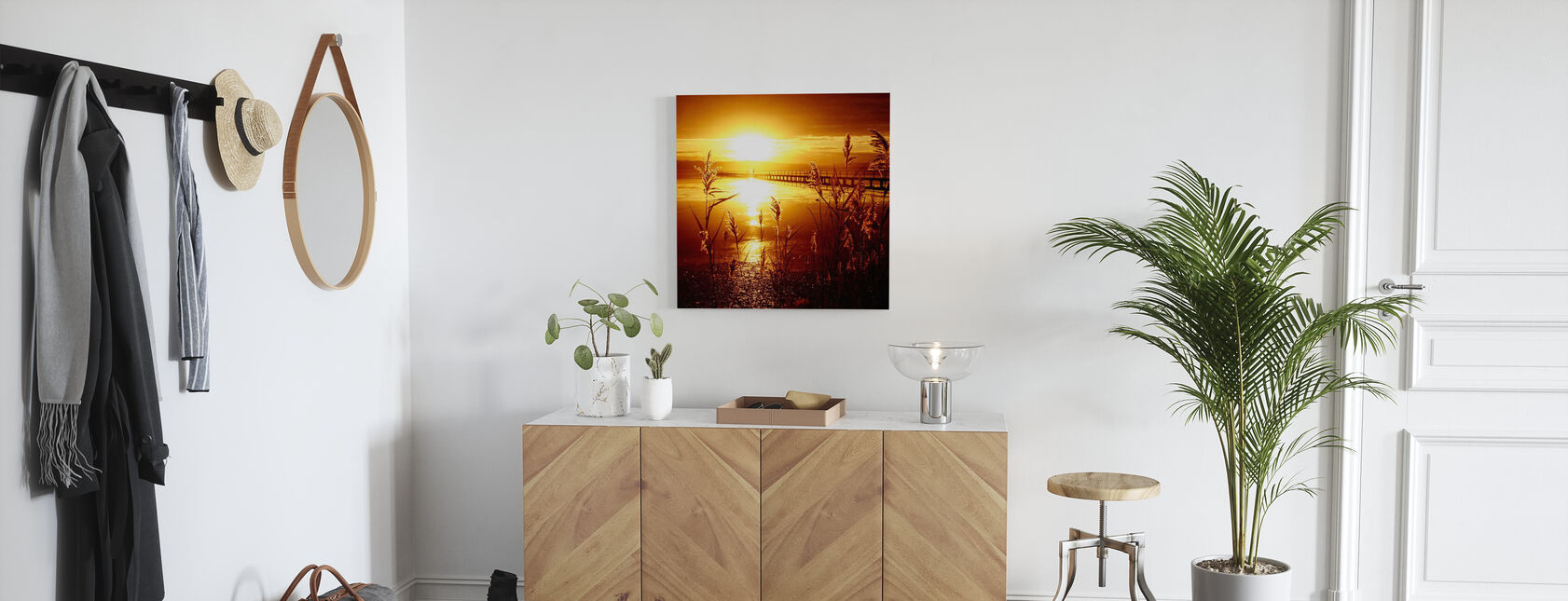 Dato med solen - Billede på lærred - Entré