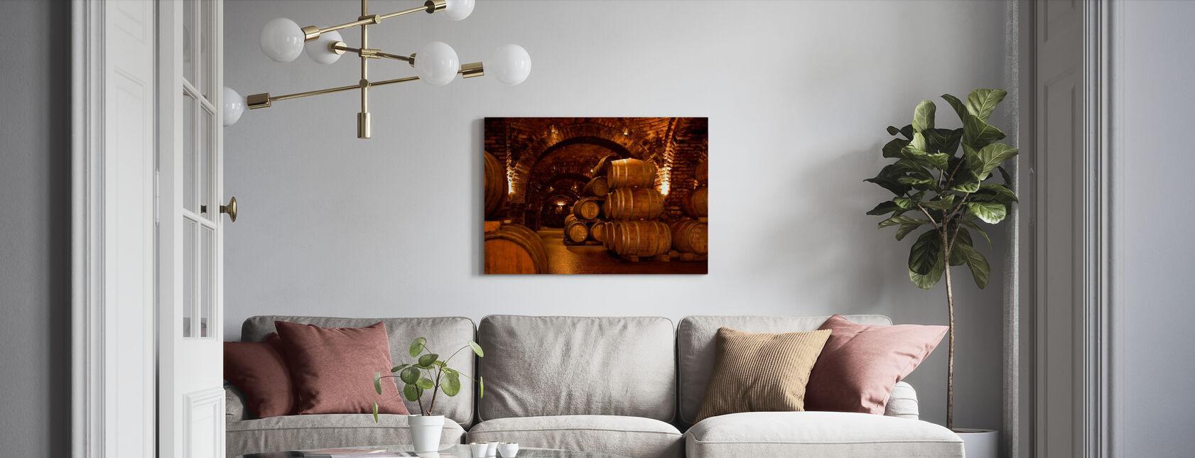 Vinkælder tønder - Billede på lærred - Stue