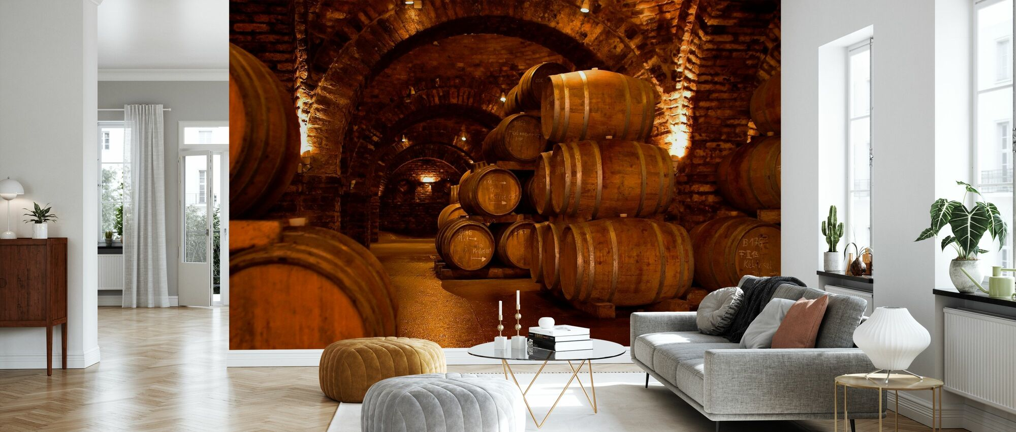 Wine Cellar Barrels - Wallpaper - Living Room