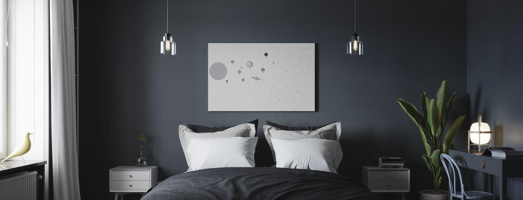 Planeter og Stjerner - Billede på lærred - Soveværelse