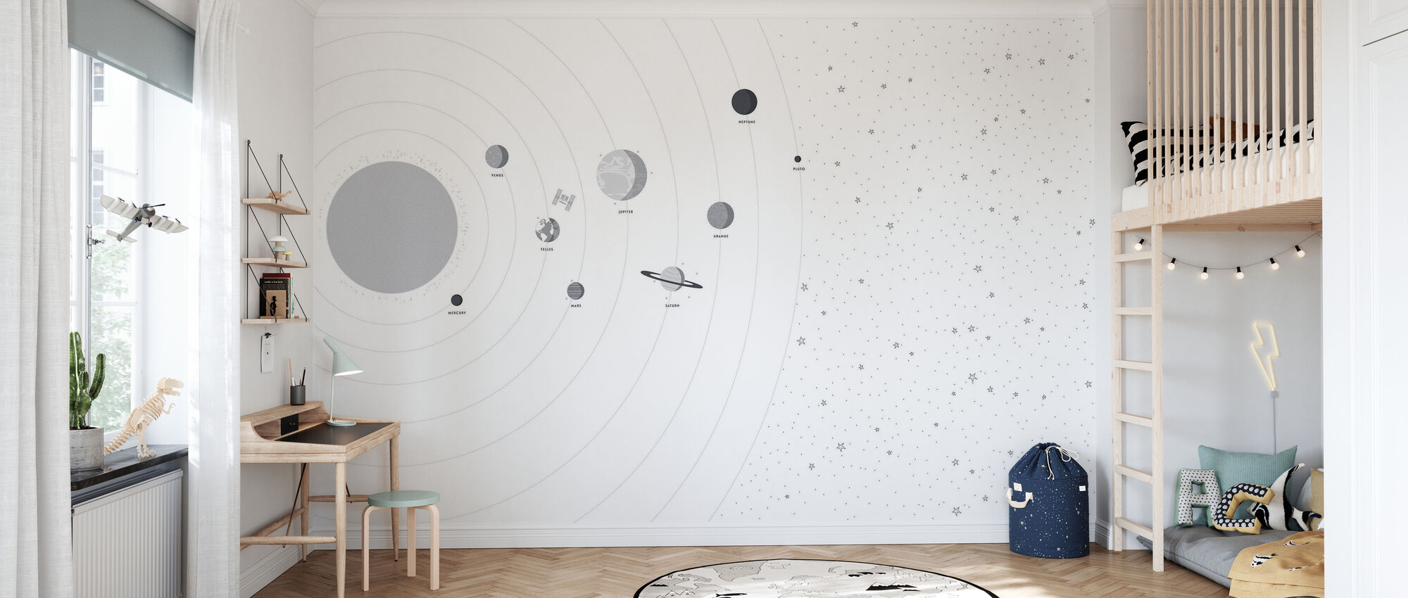 Planets and Stars - Wallpaper - Kids Room