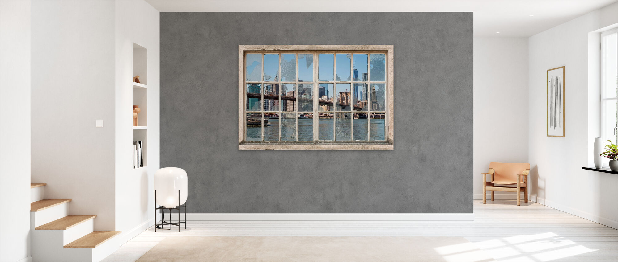 View from Basement Windows - Brooklyn Bridge - Wallpaper - Hallway