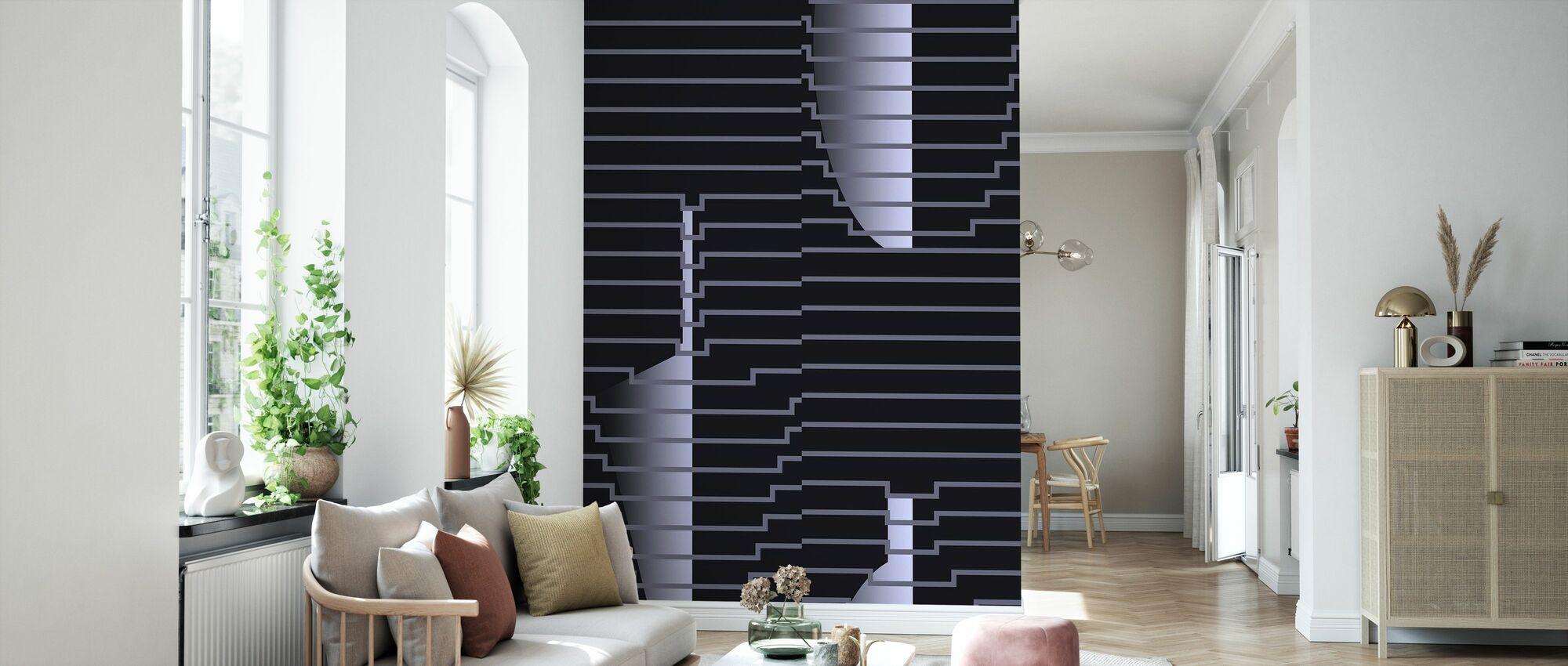 Draped Vases Cool Blue - Wallpaper - Living Room