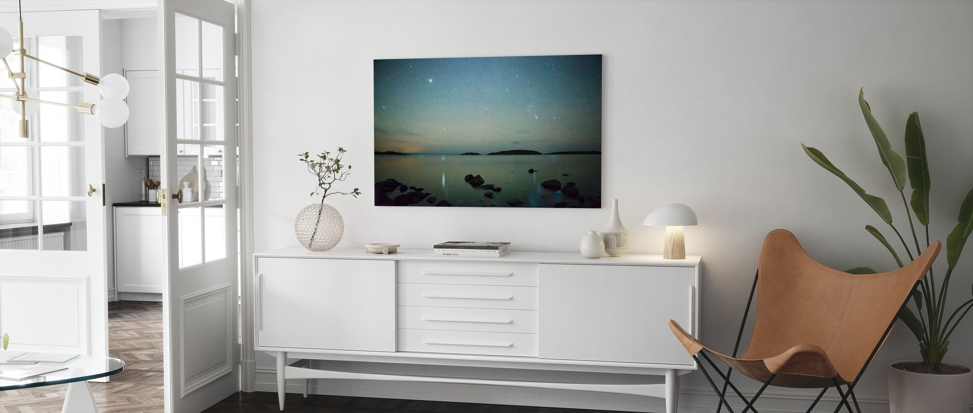 Starry Sky over Juniskär, Sweden - Canvas print - Living Room